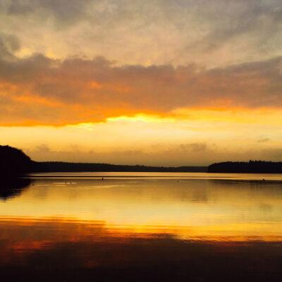Goldener Sonnenuntergang am Stechlinsee